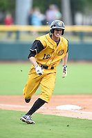 Jacksonville Suns  shortstop Danny Black (18) rounds third to score a run during a game against the Pensacola Blue Wahoos on April 20, 2014 at Bragan Field in Jacksonville, Florida.  Jacksonville defeated Pensacola 5-4.  (Mike Janes/Four Seam Images)