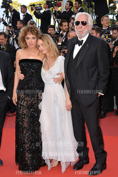 Actors Valeria Golino, Vanessa Paradis &amp; Donald Sutherland at the gala premiere for &quot;The Last Face&quot; at the 69th Festival de Cannes.<br /> May 20, 2016  Cannes, France<br /> Picture: Paul Smith / Featureflash