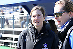 DURHAM, NC - FEBRUARY 18: Northwestern head coach Kelly Amonte Hiller left and Duke head coach Kerstin Kimmel (right). The Duke University Blue Devils hosted the Northwestern University Wildcats on February 18, 2018, at Koskinen Stadium in Durham, NC in women's college lacrosse match. Duke won the game 9-8.