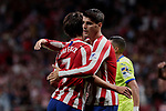 Atletico de Madrid's Joao Felix (L) and Alvaro Morata (R) during La Liga match between Atletico de Madrid and Getafe CF at Wanda Metropolitano Stadium in Madrid, Spain. August 18, 2019. (ALTERPHOTOS/A. Perez Meca)
