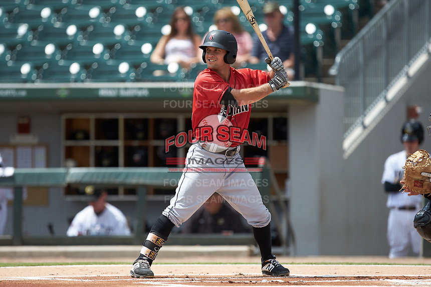Adam Frazier (26) of the Indianapolis Indians at bat against the Charlotte Knights at BB&T BallPark on August 22, 2018 in Charlotte, North Carolina.  The Indians defeated the Knights 6-4 in 11 innings.  (Brian Westerholt/Four Seam Images)