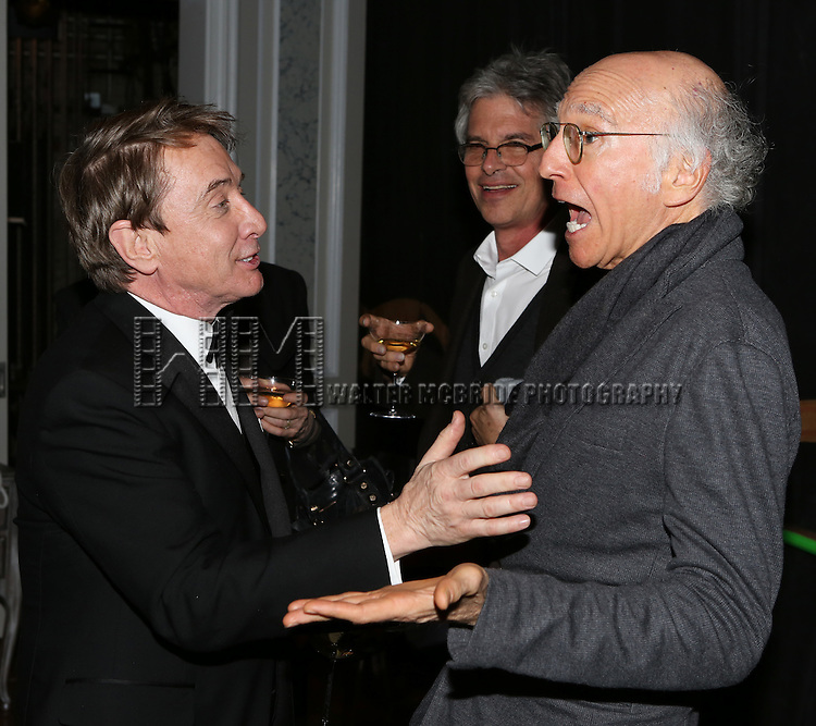 Martin Short and Larry David attend the re-opening night performance backstage reception for 'It's Only A Play' at the Bernard B. Jacobs Theatre on January 23, 2014 in New York City.