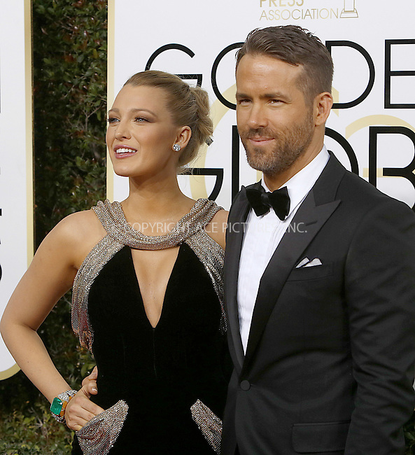 www.acepixs.com<br /> <br /> January 8 2017, LA<br /> <br /> Actor Ryan Reynolds and actress Blake Lively arriving at the 74th Annual Golden Globe Awards at the Beverly Hilton Hotel on January 8, 2017 in Beverly Hills, California.<br /> <br /> By Line: Famous/ACE Pictures<br /> <br /> <br /> ACE Pictures Inc<br /> Tel: 6467670430<br /> Email: info@acepixs.com<br /> www.acepixs.com