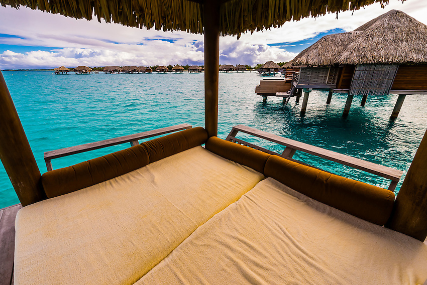 Deck with plunge pool, Overwater bungalow suite,  Four Seasons Resort Bora Bora, French Polynesia.