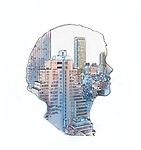 Image of a city inside a young woman's profile representing lifestyle
