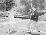 Couple playing tennis together