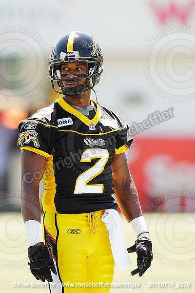 July 10, 2010; Hamilton, ON, CAN; Hamilton Tiger-Cats defensive back Jason Shivers (2). CFL football: Calgary Stampeders vs. Hamilton Tiger-Cats at Ivor Wynne Stadium. The Tiger-Cats lost against the Stampeders 23-22. Mandatory Credit: Ron Scheffler. Copyright (c) 2010 Ron Scheffler.