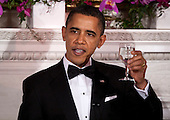 United States President Barack Obama makes a toast at the start 2011 Governors Dinner at the White House in Washington, D.C., U.S., on Sunday, February 27, 2011. .Credit: Joshua Roberts / Pool via CNP
