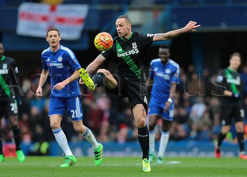 05.03.2016. Stamford Bridge, London, England. Barclays Premier League. Chelsea versus Stoke City. Stoke City Forward Marko Arnautović controls a high ball