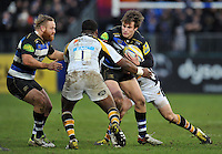 Max Clark of Bath Rugby takes on the Wasps defence. Aviva Premiership match, between Bath Rugby and Wasps on February 20, 2016 at the Recreation Ground in Bath, England. Photo by: Patrick Khachfe / Onside Images