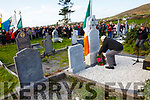 Dan O'Neill lays a wreath at the graveside of Captain Maurice O'Neill (Óglaigh na hÉireann) from Letter, Cahersiveen who was remembered on the 75th anniversary of his execution in Mountjoy Gaol on Sunday, pictured here at Keelavarnogue Cemetery on Sunday with a Colour Party and spectators.