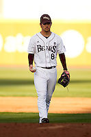 Clay Murphy (8) of the Missouri State Bears walks up to the mound during a game against the Oklahoma State Cowboys at Hammons Field on March 6, 2012 in Springfield, Missouri. (David Welker / Four Seam Images)