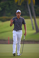 Cheng JIN (CHN) after sinking his birdie putt on 2 during Rd 3 of the Asia-Pacific Amateur Championship, Sentosa Golf Club, Singapore. 10/6/2018.<br /> Picture: Golffile | Ken Murray<br /> <br /> <br /> All photo usage must carry mandatory copyright credit (© Golffile | Ken Murray)