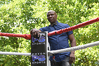 Chris Eubank looks on during a Public Work Out at ITV Head Office on 12th July 2017