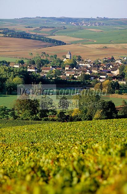Europe/France/89/Yonne/AOC Chablis: Le village de Chablis depuis le clos
