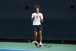 Skander Mansouri of the Wake Forest Demon Deacons celebrates after winning his match against the Ohio State Buckeyes at #3 singles during the 2018 NCAA Men's Tennis Championship at the Wake Forest Tennis Center on May 22, 2018 in Winston-Salem, North Carolina.  The Demon Deacons defeated the Buckeyes 4-2. (Brian Westerholt/Sports On Film)