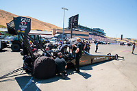 Jul 27, 2019; Sonoma, CA, USA; Crew members for NHRA top fuel driver Mike Salinas during qualifying for the Sonoma Nationals at Sonoma Raceway. Mandatory Credit: Mark J. Rebilas-USA TODAY Sports
