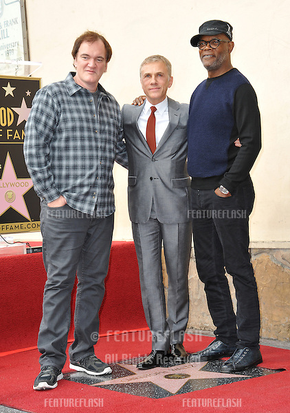 Christoph Waltz with Quentin Tarantino &amp; Samuel L. Jackson at Hollywood Walk of Fame ceremony honoring Christoph Waltz with the 2,536th star on the Walk of Fame.<br /> December 1, 2014  Los Angeles, CA<br /> Picture: Paul Smith / Featureflash