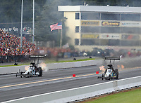 Sep 15, 2018; Mohnton, PA, USA; NHRA top fuel driver Dom Lagana (left) alongside Scott Palmer during qualifying for the Dodge Nationals at Maple Grove Raceway. Mandatory Credit: Mark J. Rebilas-USA TODAY Sports