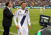 CARSON, CA - DECEMBER 01, 2012:   David Beckham (23) of the Los Angeles Galaxy leaves the game against the Houston Dynamo during the 2012 MLS Cup at the Home Depot Center, in Carson, California on December 01, 2012. The Galaxy won 3-1.