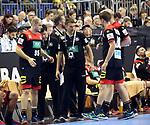 10.01.2019, Mercedes Benz Arena, Berlin, GER, Handball WM 2019, Deutschland vs. Korea, im Bild <br /> Cheftrainer (Head Coach) Christian Prokop (GER), Paul Drux (GER #95), Fabian Boehm (GER #38), Spielerbank<br /> <br />      <br /> Foto © nordphoto / Engler