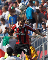 AC Milan forward Stephan El Shaarawy (92) heads the ball. In an international friendly, AC Milan defeated C.D. Olimpia, 3-1, at Gillette Stadium on August 4, 2012.