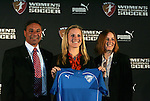 16 January 2009: Amy Rodriguez, with head coach Tony DiCicco and WPS Commissioner Tonya Antonucci, was selected with the first overall pick by the Boston Breakers. The 2009 inaugural Womens Pro Soccer (WPS) Draft was held at the Convention Center in St. Louis, Missouri in conjuction with the National Soccer Coaches Association of America's annual convention.