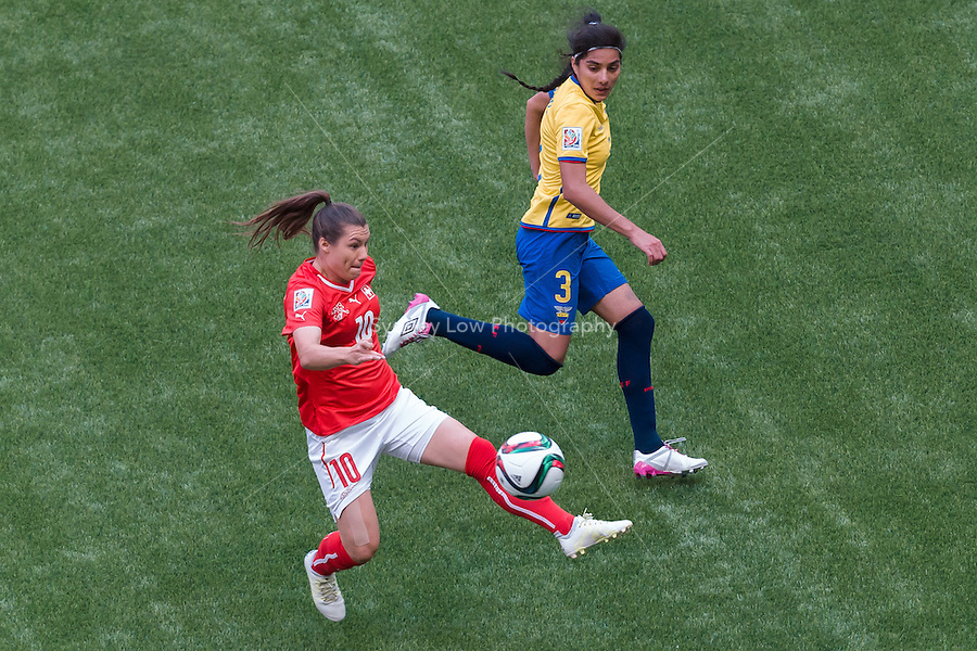 June 12, 2015: Ramona BACHMANN of Switzerland kicks the ball during a Group C match at the FIFA Women's World Cup Canada 2015 between Switzerland and Ecuador at BC Place Stadium on 12 June 2015 in Vancouver, Canada. Switzerland won 10-1. Sydney Low/AsteriskImages