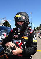 Apr. 3, 2011; Las Vegas, NV, USA: NHRA top fuel dragster driver David Grubnic during the Summitracing.com Nationals at The Strip in Las Vegas. Mandatory Credit: Mark J. Rebilas-