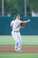 AZL Athletics third baseman Jake Lumley (31) on defense against the AZL Dodgers on August 4, 2017 at Lew Wolff Training Complex in Mesa, Arizona. AZL Dodgers defeated the AZL Athletics 4-1. (Zachary Lucy/Four Seam Images)