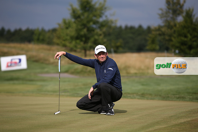 Peter Lawrie (IRL) sees the funny side of life on the 9th during the Final Round of the D&D Real Czech Masters 2014 from the Albatross Golf Resort, Vysoky Ujezd, Prague. Picture:  David Lloyd / www.golffile.ie