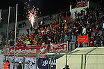 Fans attend the crucial AFC Champions League Playoff phase football match between Palestinian's Ahly Al-Khalil football team and FC Khujand team at Dura Stadium in the West Bank city of Hebron on Feb. 09, 2016. Mahmoud Wadi claimed the only goal of the game in the 21st minute, when he had the time and space to pick his spot after good work down the right from Khaldun Halman set him up to score from close range. Victory means Ahly Al-Khalil will feature in Group D of this season's continental championship, where they will face Bahrain's Al Muharraq, Fanja from Oman and Syrian side Al Jaish, winners of the inaugural AFC Cup in 2004. Photo by Wisam Hashlamoun