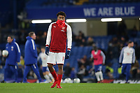 Alex Iwobi of Arsenal looks on in the pre-match warm up during Chelsea vs Arsenal, Caraboa Cup Football at Stamford Bridge on 10th January 2018