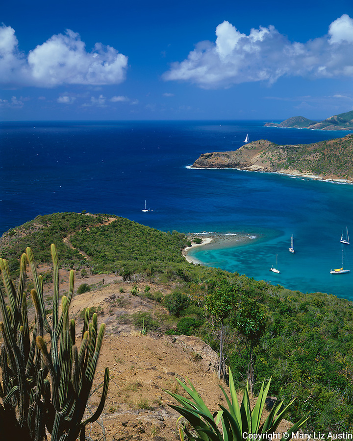 Antigua, West Indies  <br /> The mouth of English Harbor and and south coast of Antigua from Shirley Heights - Leeward Caribbean Islands