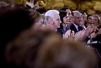 Roma, 7 Marzo 2015<br /> Quirinale.<br /> Giornata internazionale dela donna, <br /> celebrazione dedicata al tema &quot;Donne per la Terra&quot;.<br /> Nella foto Pietro Grasso, Sergio Mattarella e Laura Boldrini.