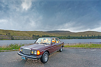 2019 08 30 classic Mercedes W123 300 Turbo Diesel, Near Breacon, Wales, UK