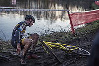 Toon Aerts (BEL/Telenet Fidea Lions) crashing on the slippery mud.<br /> <br /> men's elite race<br /> Flandriencross Hamme / Belgium 2017