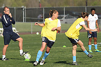 Piscataway, NJ, April 24, 2016.  Players from Sky Blue FC including Christie Rampone (3) warm up as assistant coach, Paul Grieg, looks on.  The Washington Spirit defeated Sky Blue FC 2-1 during a National Women's Soccer League (NWSL) match at Yurcak Field.