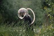 Pershore, England, May, 20th 1988. R.H. Hinchliffe, the inventor of the helmet made for highly alergic people.