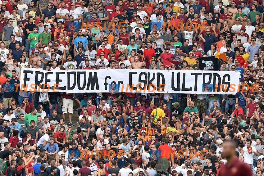 Striscione dei tifosi della Roma: Freedom for CSKA ultras.<br /> Roma 21-09-2014 Stadio Olimpico. Football Calcio 2014/2015 Serie A. AS Roma - Cagliari. Foto Antonietta Baldassarre / Insidefoto