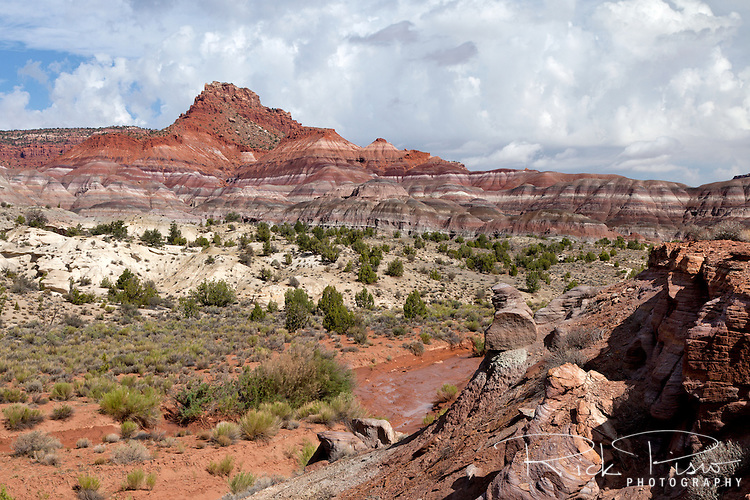Calico Peak, the Vermilion Cliffs and the Paria River Valley at the southern boundary of the Grand Staircase Escalante National Monument in southwest Utah.