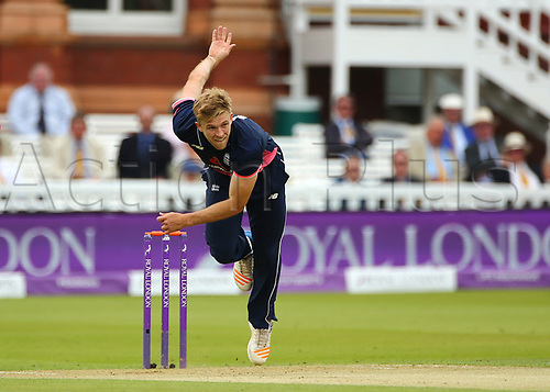 May 29th 2017, Lords, London, England, One Day International Cricket, England versus South Africa; David Willey of England in bowling action