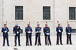 Royal Guard wait for Queen Letizia of Spain in Escorial Monastery.  July 23, 2019. (ALTERPHOTOS/Francis Gonzalez)
