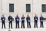Royal Guard wait for Queen Letizia of Spain in Escorial Monastery.  July 23, 2019. (ALTERPHOTOS/Francis Gonzalez)