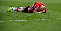 Lincoln City's Danny Rowe reacts after failing to convert a second half chance<br /> <br /> Photographer Chris Vaughan/CameraSport<br /> <br /> The EFL Sky Bet League Two - Lincoln City v Cheltenham Town - Saturday 13th April 2019 - Sincil Bank - Lincoln<br /> <br /> World Copyright &copy; 2019 CameraSport. All rights reserved. 43 Linden Ave. Countesthorpe. Leicester. England. LE8 5PG - Tel: +44 (0) 116 277 4147 - admin@camerasport.com - www.camerasport.com