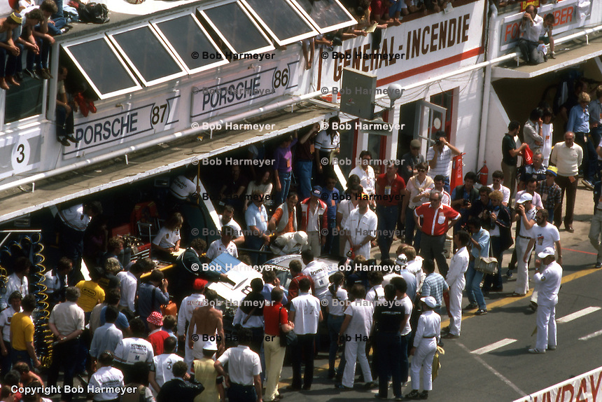LE MANS, FRANCE: The pit area of the BF Goodrich Porsche 924 team is crowded before practice for the 24 Hours of Le Mans on June 20, 1982, at Circuit de la Sarthe in Le Mans, France.