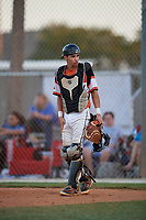 Braden Smith during the WWBA World Championship at the Roger Dean Complex on October 20, 2018 in Jupiter, Florida.  Braden Smith is a catcher from Indian Trail, North Carolina who attends Carmel Christian School.  (Mike Janes/Four Seam Images)