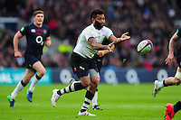 Metuisela Talebula of Fiji passes the ball. Old Mutual Wealth Series International match between England and Fiji on November 19, 2016 at Twickenham Stadium in London, England. Photo by: Patrick Khachfe / Onside Images