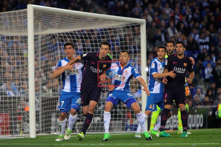 League Santander 2016/2017. Game: 35.<br /> RCD Espanyol vs FC Barcelona: 0-3.<br /> Gerard Moreno, Sergio Busquets, Javi Fuego, Javi Lopez &amp; Luis Suarez.