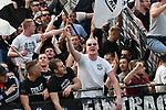 14.04.2018, BayArena, Leverkusen , GER, 1.FBL., Bayer 04 Leverkusen vs. Eintracht Frankfurt<br /> im Bild / picture shows: <br /> Fans, freundlich, Stimmung, farbenfroh, Nationalfarbe, geschminkt, Emotionen, Frankfurter <br /> <br /> <br /> Foto &copy; nordphoto / Meuter